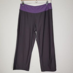 Nike Gray Purple Waist Yoga Fit Dry Capri Leggings